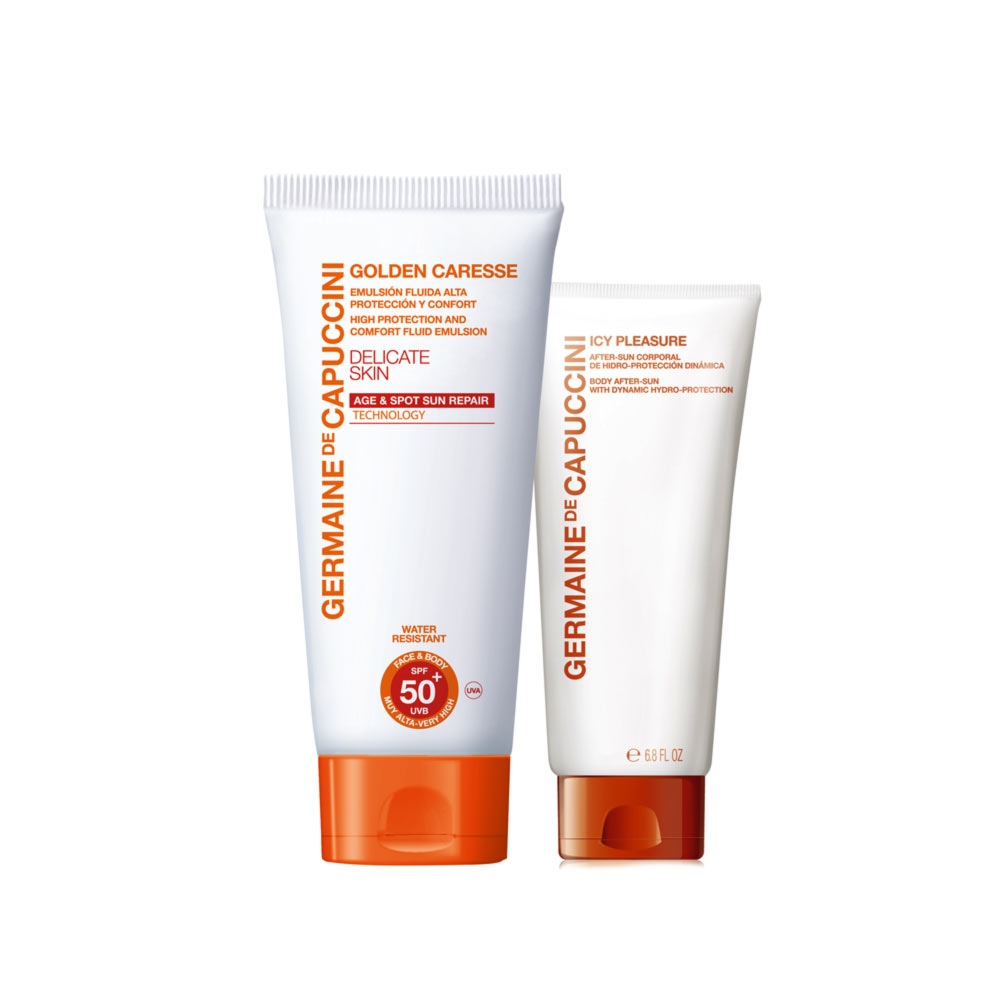 Produktbild für Germaine de Capuccini Delicate Skin High Protection and Comfort Fluid Emulsion SPF 50+150ml & Icy Pleasure Body After-Sun 100ml Promotions Pack